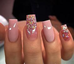 Discover how to complete your glam look with glitter nail designs. Whether you are going to attend a special event such as wedding, you. Summer Acrylic Nails, Best Acrylic Nails, Summer Nails, Spring Nails, Stylish Nails, Trendy Nails, Hot Nails, Swag Nails, Nail Art Designs