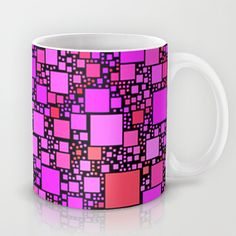 Post It PinkMug - $15.00. Worldwide shipping available at Society6.com. #mug #coffeemug #kitchen #pink #squares #geometric #contemporary #pattern #homedecor #dorm