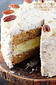 Carrot Cake Cheesecake Cake recipe is a showstopper! Layers of homemade carrot cake, a cheesecake center and it's all topped with a delicious cream cheese frosting!This Carrot Cake Cheesecake Cake recipe is a showstopper! Layers of homemade carrot cake, a Köstliche Desserts, Delicious Desserts, Dessert Recipes, Easter Desserts, Recipe For Delicious Cakes, Fall Cake Recipes, Dessert Blog, Delicious Chocolate, Chocolate Ganache
