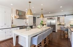 Anolon Advanced Kitchen Traditional with Dark Wood Floor Double Sink Farmhouse Sink Gold Pendant Gold Pendant Light