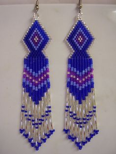 Native American Beaded Blue, Purple, Blue and Silver Earrings