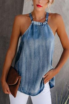 Classy off-shoulder denim halter vest, the fashion trending and hot sales now, size s to shop now!Classy off-shoulder denim halter vest, the fashion trending and hot sales now, size s to shop now! Denim Fashion, Fashion Outfits, Womens Fashion, Fashion Trends, Fashion Ideas, Style Fashion, Camo Fashion, Petite Fashion, 80s Fashion