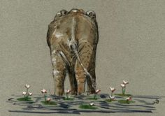 Elephant Water Lilies Africa Original Art Watercolor Animal Painting Juan Bosco | eBay