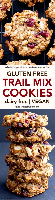 Gluten Free Trail Mix Cookies (V+GF): an easy recipe for chewy and satisfying protein-packed trail mix cookies, full of fruits, seeds and nuts. #Vegan #GlutenFree #DairyFree   http://BeamingBaker.com