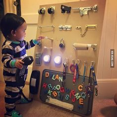 Dad's way to keep 'em busy. - 9GAG - Actually, it's a really great gift idea that does keep them entertained & their brains & hands engaged!