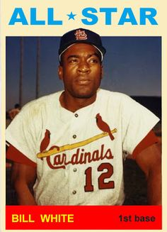 1964 Topps Bill White All Star. St. Louis Cardinals. Baseball Cards That Never Were