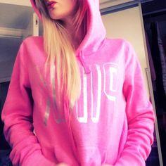 Victoria secret pink pink hoodie Victoria pink pink XS hoodie love pink in silver. NWOT. Perfect condition. Pullover hoodie PINK Victoria's Secret Tops Sweatshirts & Hoodies