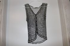 Fina Moda Beaded Black and Silver Vest One Size  #FinaModa