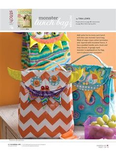 Pattern: Monster Lunch Bag - Media - Sew Daily