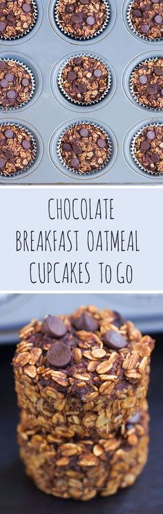 Chocolate Breakfast Oatmeal Cupcakes - To Go! - You cook just ONCE and get a delicious breakfast for the entire month – Easy & nutritious recipe loved by kids and adults: chocolatecoveredk… Chocolate Covered Katie Oatmeal Cupcakes, Breakfast Cupcakes, What's For Breakfast, Breakfast Dishes, Breakfast Recipes, Breakfast Muffins, Breakfast Healthy, Breakfast Dessert, Breakfast Casserole