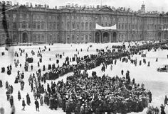 Demonstrators gathering in front of the Winter Palace in Petrograd, just prior to the Russian Revolution, January 1917.