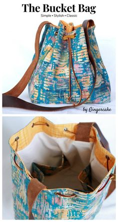 Sewing pattern for a bucket bag. This casual bag sewing pattern is ideal for those new to sewing bags and purses. This bucket bag sewing pattern can create a bag to wear cross body or sling over your shoulder. The drawstring bag sewing pattern has options Handbag Patterns, Bag Patterns To Sew, Pattern Sewing, Fabric Bags, Sewing Projects For Beginners, Casual Bags, Handmade Bags, Sewing Hacks, Sewing Tips