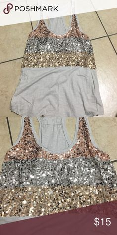 Express racerback sequined shirt Rose gold, silver and yellow gold sequins excellent condition, tan/cream color top Express Tops Camisoles