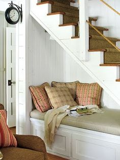 bench under the stairs, love it and what fun for little ones or the furbabies