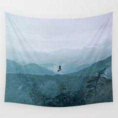 Blue smoky mountains by Pirmin Nohr A buzzard is circling over the mountains, while the water of the rain is rising up to the sky again. Animal, nature, landscape, fauna,flora, mountains,trees, blue, clouds, steam, water vapor, aqueous vapor, blue, forest, sky, bird, raptor, wall tapestry