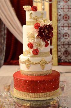 Indian Wedding Inspirations. Red wedding cake. #indian #weddings IndianWeddingsMag.com