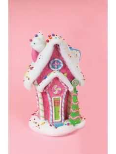 pink candy gingerbread house