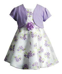 Lilac Floral A-Line Dress & Open Bolero - Toddler & Girls