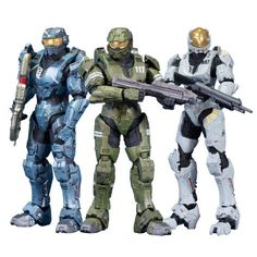 McFarlane Toys Halo Legends - The Package (3-Pack) by McFarlane Toys. $32.89. Debut figure; Lieutenant Frederic-104 his armor features his unique helmet and the shoulder-mounted combat knives; also includes the Spartan Laser. This set includes the Master Chief, he comes equipped for battle with his trusty Assault Rifle.. Debut figure; Petty Officer Kelly-087 comes equipped with a Shotgun; in her white Mark IV Eva armor with yellow stripes and black Spartan number. From t...