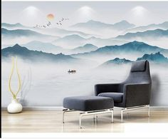 Hand Painted Mountains with Lake Scenic Landscape Wallpaper Wall Mural, Fog Monring Mountains with Flying Birds Wall Mural Home Decor Hand bemalt Berge mit See Szene Landschaft Tapete Wandbild Sunrise Wallpaper, Wallpaper Wall, Mountain Wallpaper, Mountain Mural, Mountain Paintings, Landscape Wallpaper, Landscape Walls, Waterfall Wallpaper, Modern Wallpaper Designs