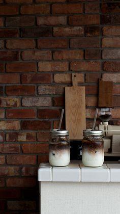Enjoying the home-made iced cafe au lait