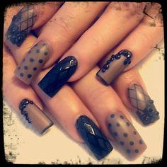 Black matte....Nude pretty nails