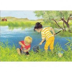'Kikkerdril vangen' door Gerda Muller. Child And Child, Childrens Books, Illustration Art, Childhood, Drawings, Artwork, Summer, Painting, Inspiration