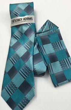 Stacy Adams Tie & Hanky Set Aqua & Gray Men's Hand Made 100% Microfiber #StacyAdams #Tie