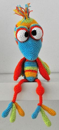 crochet pattern amigurumi colorful bird pdf by MOTLEYCROCHETCREW by Rebekah DeVrieze
