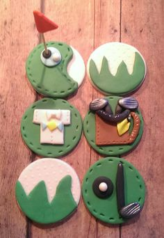 Golf Tee Time Fondant Cupcake Toppers. PrettyPartyDetails https://www.etsy.com/listing/179459235/golf-tee-time-collection-the-perfect?ref=shop_home_active_11