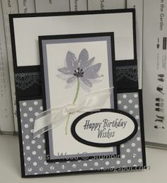 Stampin' Up!- I LOVE this stemmed flower card using 2 cool Sale-a-bration sets- 'Avant Garden' & 'Delicate Details'!!  It is a fun fold card too!!  Check it out!