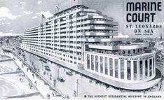 Marine Court St Leonards-on-Sea, East Sussex Hastings Old Town, Hastings East Sussex, Hastings Seafront, Art Deco Typography, Streamline Moderne, Art Deco Buildings, Seaside Resort, Old Video, Travel Posters