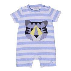 Buzo corto con tigre estampado de Bonnie Baby, azul y crema / 6-12 meses