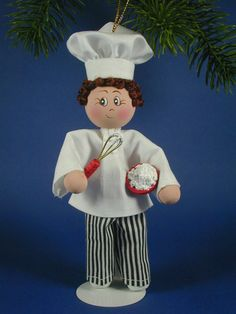 Chef Clothespin Ornament Doll is whipping up something yummy. He stands about 6 inches tall with his hat. I have dressed him in what I see as a