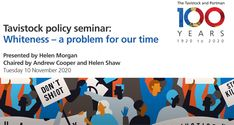Cooper, Andrew, Shaw, Helen and Morgan, Helen (2020) 'Whiteness – A problem for our time' [Tavistock Centenary Webinar on YouTube]
