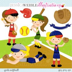 Girls Softball Cute Digital Clipart  Commercial by JWIllustrations