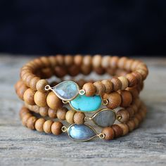 Sandalwood Boho Bracelets, Labradorite Turquoise 14K Gold Vermeil Fragrant Wood Stacking Bracelet, Beadwork Beach Jewelry, Ocean Sky Blue by byjodi on Etsy