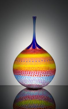 Winking Tangy Orb by Stephen Rolfe Powell. Powell is one of my favorite glass artists working today. I love the colors, patterns, and shapes. There are videos on youtube of him making pieces like this - really fun to watch.