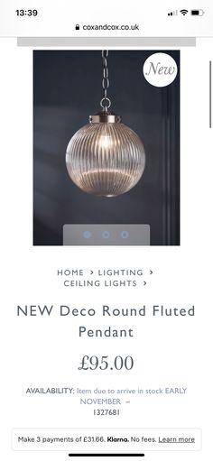 Home Lighting, Flute, New Homes, Ceiling Lights, Pendant, How To Make, Home Decor, Decoration Home, Room Decor