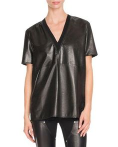 W0G9L Givenchy Short-Sleeve V-Neck Leather Tee, Black