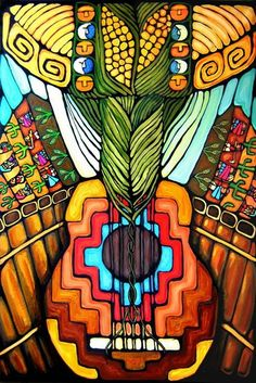 Cosmogonias y Sikuriadas 2 Mexican Artwork, Mexican Paintings, Mexican Folk Art, Art Chicano, Latino Art, Mexico Art, Southwest Art, American Art, Bunt