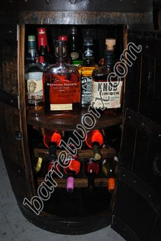 Whiskey Barrel Liquor Cabinet W Lazy Susan & Built In Wine Rack