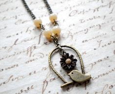 vintage inspired sweet bird on a swing necklace by http://www.luulla.com/store/elinacreations