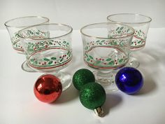 Vintage Holiday Glassware Retro Christmas by KyriesTreasureChest