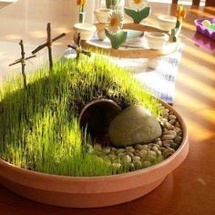 Plant an Easter Garden! Using potting soil, a tiny buried flower pot for the tomb, shade grass seed, crosses made from twigs. Sprinkle grass seed generously on top of dirt, keep moistened using a spray water bottle. Spritz it several times a day. Set it in a warm sunny location. Sprouts in 7-10 days so plan ahead. (courtesy of Shepherdlamb)
