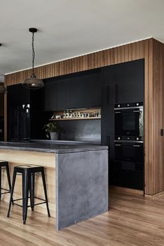 Informations About Bespoke concrete kitchen island bench. Kitchen Island Bench, Black Kitchen Cabinets, Black Kitchens, Kitchen Black, Kitchen Islands, Waterfall Kitchen Island, Kitchen Small, Small Kitchens, White Cabinets