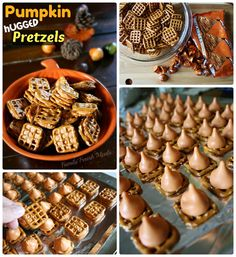 Pretzel Kisses:  Preheat oven to 300 degrees.  Place pretzels on baking sheet.  Place an unwrapped Kiss in the middle.  Bake for 3 minutes.