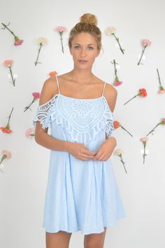 Baby Blue Malibu Open Shoulder Crochet Dress | Foi Clothing Boutique | Must Have | Perfect for Any Occasion | Buy Now on Foiclothing.com | Spring and Summer Fashion | Women's Boutique | Things We Love | Off the Shoulder Dress | Lovely Lace | Darling Details |