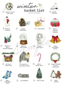 Winter Bucket List Printable - It's time to grab your coats and scarves to start tackling this Winter Bucket List. Christmas Time Is Here, Christmas Mood, All Things Christmas, Holiday Fun, Merry Christmas, Christmas Bucket Lists, Rustic Christmas, Christmas List Ideas, Christmas Lodge