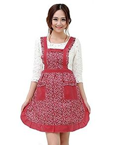 Hyzrz Newly Cute Pastoral Style Fashion Flower Pattern Housewife Home Chef Cooking Cotton Apron Bib with Pockets 6#